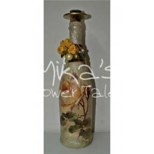 Διακοσμητικό μπουκάλι ''Τριαντάφυλλα κίτρινα'' ΙΔΙΑΙΤΕΡΑ ΔΙΑΚΟΣΜΗΤΙΚΑ ΜΠΟΥΚΑΛΙΑ