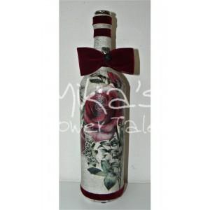 Διακοσμητικό μπουκάλι ''Τριαντάφυλλα μπορντώ'' ΙΔΙΑΙΤΕΡΑ ΔΙΑΚΟΣΜΗΤΙΚΑ ΜΠΟΥΚΑΛΙΑ