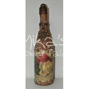 Διακοσμητικό μπουκάλι ''Τριαντάφυλλα'' ΙΔΙΑΙΤΕΡΑ ΔΙΑΚΟΣΜΗΤΙΚΑ ΜΠΟΥΚΑΛΙΑ