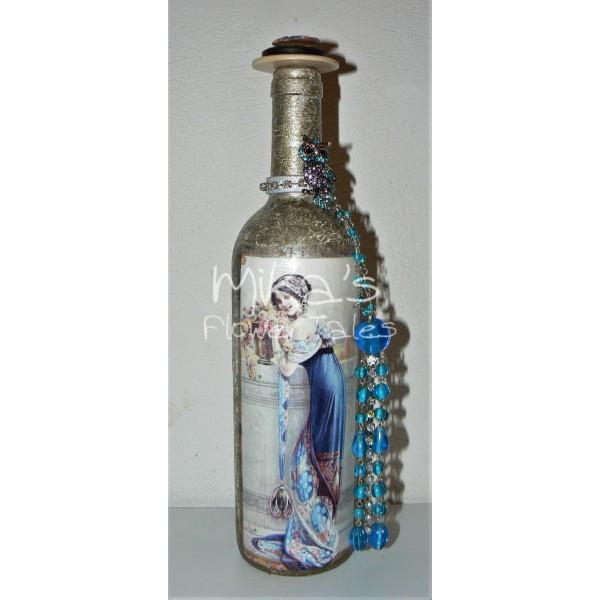Διακοσμητικό μπουκάλι ''Γαλάζια κυρία'' ΙΔΙΑΙΤΕΡΑ ΔΙΑΚΟΣΜΗΤΙΚΑ ΜΠΟΥΚΑΛΙΑ