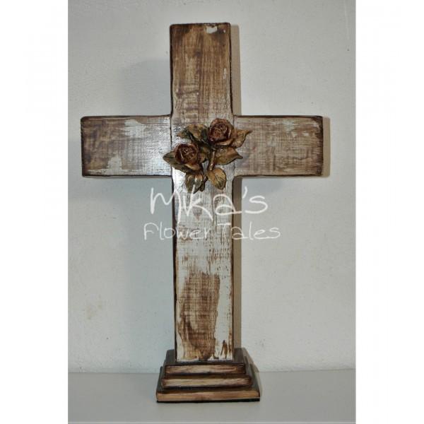 Σταυρός ξύλινος με άνθη ΧΕΙΡΟΠΟΙΗΤΟΙ ΣΤΑΥΡΟΙ
