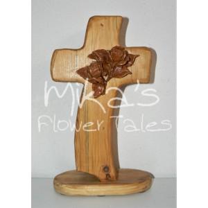 Σταυρός ξύλινος λοξός, με άνθη
