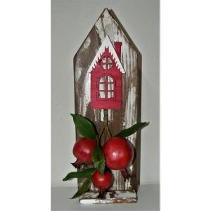 Χριστουγεννιάτικο ξύλινο σπιτάκι με ρόδια